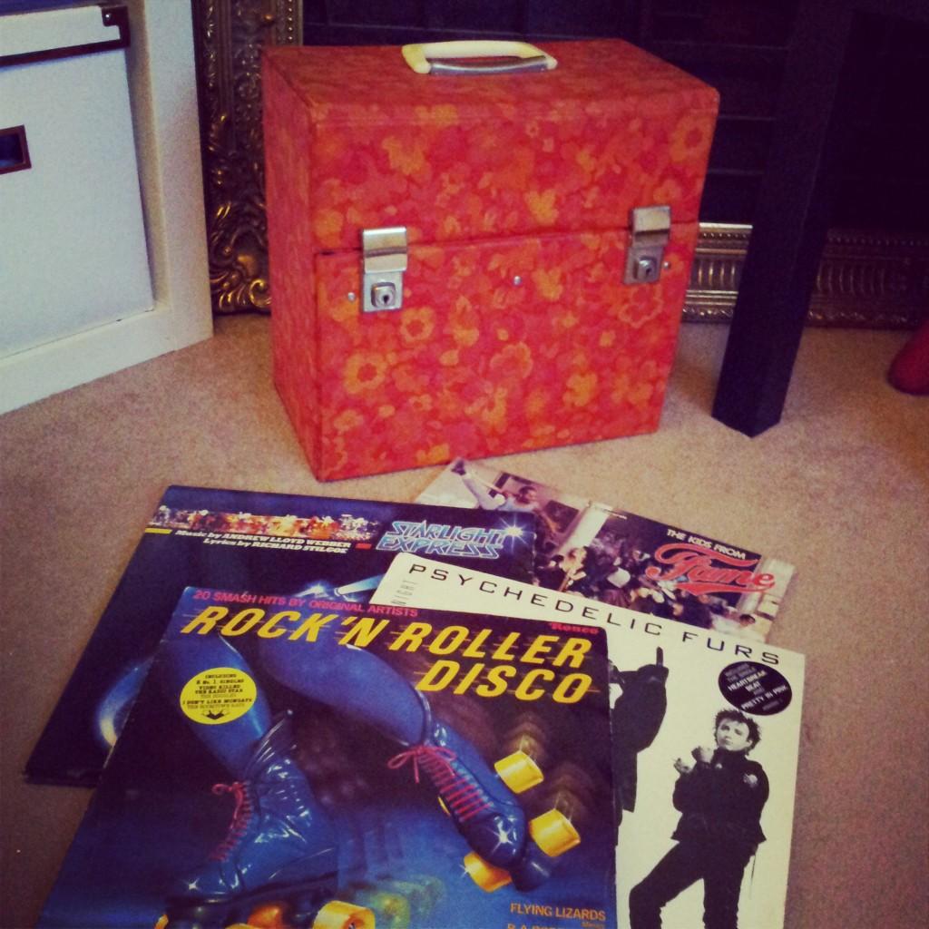 Vintage Vinyl and record box
