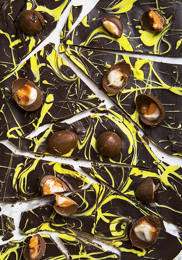 Easter Bark with mini Cadbury's Creme eggs by Stacy Grant food photographer