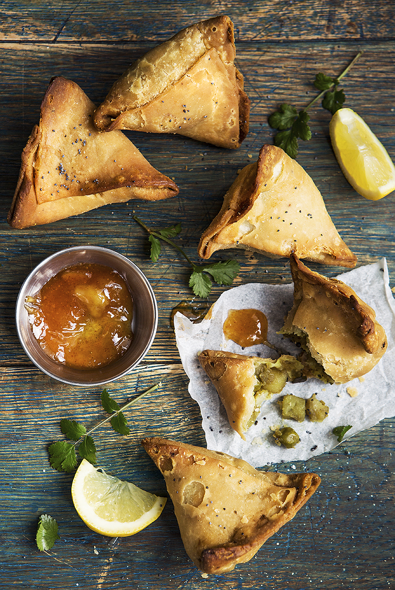 Indian Punjabi Vegetable Samosas by Stacy Grant Food Photographer