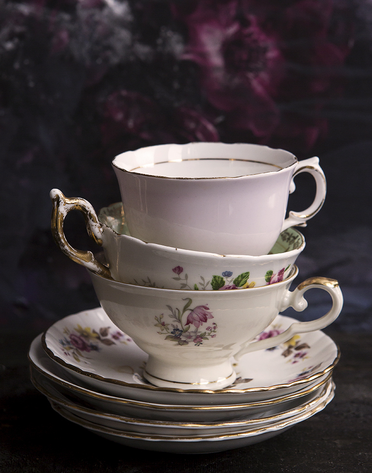 Vintage Tea cups | Time for a cuppa | Stacy Grant | Food Photographer